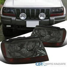 Jeep 99-04 Grand Cherokee Smoke Lens Tinted Headlights Amber Turn Signal Lamps