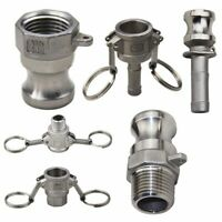"""304 Stainless Steel Homebrew Camlock Fitting Adapter 1/2"""" MPT FPT Barb Type Kit"""