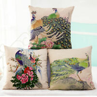 Cotton Linen Cute Peacock Flower Pillow Case Sofa Throw Cushion Cover Home Decor