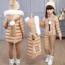 Winter Girls Clothing Sets Warm Vest Jacket Top Cotton Pants 3 Pieces Set Girl
