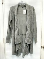 Zara Women's Basic Open Front Chunky Knit Long Sweater Cardigan Gray Size M