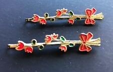 Vintage Hair Pins - Pair of Dark Red Flower and Bow Bobby Pins