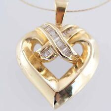 """New 14ct  Solid Yellow Gold Heart 18"""" .5 Diamond Heart Necklace with 14k Chain"""