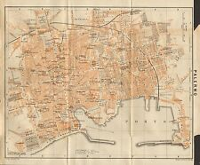 1912 BAEDEKER ANTIQUE MAP- ITALY-TOWN  PLAN OF PALERMO