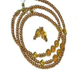 Reading glasses beaded holder lanyard (optional earrings) - gold pearl crystal