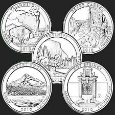 USA American the Beautiful Quarter Dollar Reine Serie 2010  5 Münzen #