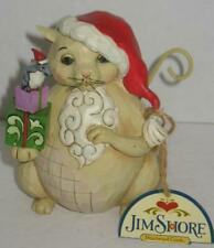 """2015 Jim Shore Christmas Cat Gift Mouse """"Unwrap Some Snuggles"""" Heartwood 4047693"""