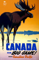 """Cool Retro Travel Poster *FRAMED* CANVAS ART Canada Pacific Moose 18x12"""""""