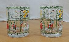 Set of 2 Twelve Days of Christmas Highball Glasses Garland Divider Pattern