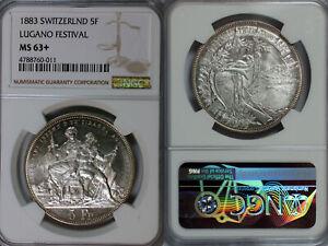 1883 Switzerland 5 Francs NGC MS63+ Lugano Festival