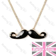 BIG KITSCH italian tash CURLY MOUSTACHE mustache NECKLACE gold black long chain