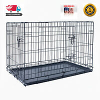 """36"""" Dog Crate Kennel Folding Pet Cage Metal 2 Door With Tray Black"""
