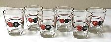 Set 6 Numbered Roulette Shot Glass Glasses Red Black Drink Bar Liquor Gambling