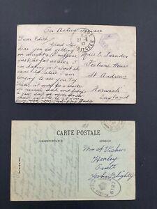 Postal  History GB GV 2 WW1 Censor Postcards Naval Censor & Field Censor 1917