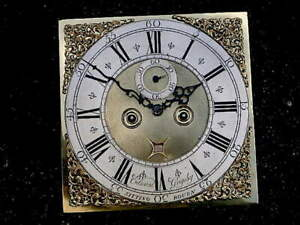 C1730 8 day LONGCASE GRANDFATHER CLOCK DIAL+movement 12 inch Edward GRIGSBY OF S
