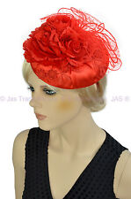 1 Spring Race Melbourne Cup Feather Fascinator Clip Headband Hat Hatinator RED