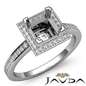 Diamond Engagement Halo Ring F-G Color Platinum Princess Shape Semi Mount 1Ct