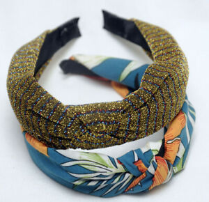 Two 'Wolf&BearKids' Hairbands Headband Alice Band Tropical and Gold Sparkling