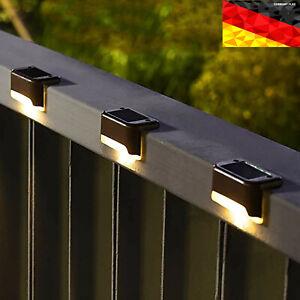 4x LED Solarleuchten Wandlampen Zaunleuchte Gartenleuchte Außen Treppen Lampe
