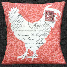 "SHABBY CHIC COCKEREL POST FRENCH COUNTRY CORAL SHADES 16"" Pillow Cushion Cover"