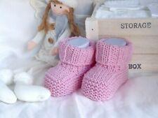Scarpine lana neonata realizzate a mano a maglia - Rosa