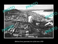 OLD POSTCARD SIZE PHOTO OF BELLEVUE IOWA PANORAMA OF THE TOWN c1920