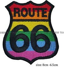 Route 66 rainbow colour iron sew on patch embroidered LGBT gay pride badge  #121