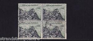 San Marino - 1957-61 View of San Marino 500L - CDS Used - SG 527a BLOCK of FOUR