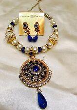 Bollywood Designer Kids Girls Indian Necklace Earrings Jewellery Set White Blue