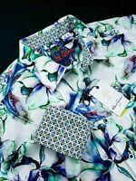 Robert Graham Geometric Artwork Floral Drawing Print Sport Shirt XL