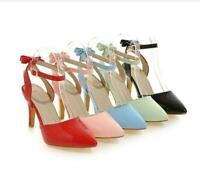 Sweet Womens Pumps Bowknot  High Heels Strap Buckle Patent Leather Shoes Sz