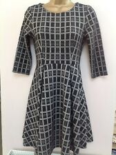 Warehouse Dress Size 8 Black/white Check 3/4 Length Sleeves