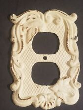 Vintage Cast Iron Outlet Receptacle Cover Plate
