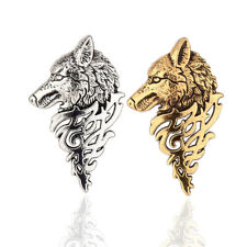 x2 Quality Wolf Brooch British Man Pins Silver Gold Badge Husky Dog Cool Hipster