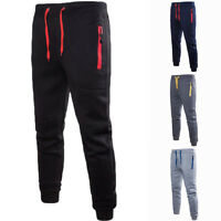 Mens Boys Winter Thick Sport Pants Trousers Zip Fitness Joggers Gym Sweatpants #