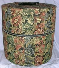 "Double Stack 13"" Tall 13"" Round Hard Colorful Tapestry Hat Box Htf Zipper Close"