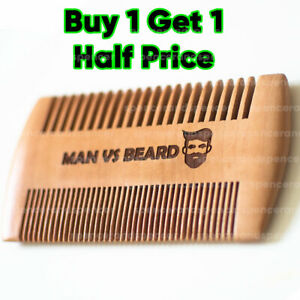 Antistatic Wooden Beard Comb, Coarse & Fine Teeth, Moustache & Beard Grooming