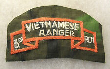 "ORIG NAM HAND EMB ""3RD RCN VIETNAMESE RANGER"" SCROLL ON CAMO CLOTH IN ENGLISH"