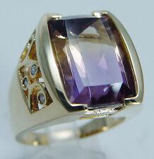 Signed LR Laura Ramsey 14K Yellow Gold Ametrine Diamond Huge Cocktail Ring