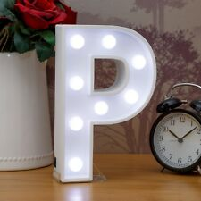 Light Up Letter P - White Marquee Letters 23cm LED Wooden Letter Lights Sign A-Z