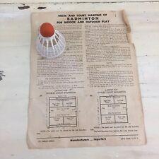 BADMINTON - Vtg Mid-Century Collectible Rules Paper & Carlton Shuttlecock Birdie