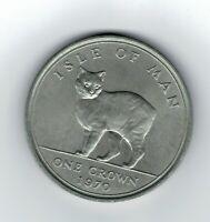 Moneda Isla de Man 1970 One Crown gato Manx 28,3 gramos 38,6 diametro
