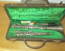 """VTG """"C.G. Conn"""" Silver Clarinet in Orig Alligator Style Case & Vandoren Mouthpce"""