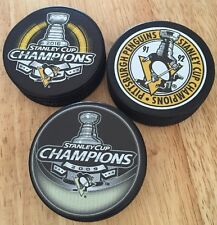 Lot Of 3 Pittsburgh Penguins Stanley Cup Champions Pucks 1992 2009 2016