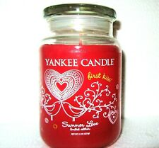 """Yankee Candle SUMMER LOVE """"FIRST KISS""""~Valentines ~Large 22 oz ~WHITE LABEL~RARE"""