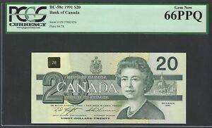 Canada 20 Dollars 1991 BC-58c Uncirculated Graded 66
