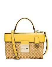 NWT Michael Kors Gabriella Yellow Medium Woven Straw Satchel Crossbody Bag
