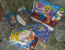 Baby Shark Birthday Party Supplies Hat Banners table cloth straw extras lot used