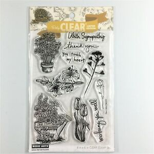 Hero Arts From The Vault Flowers Clear Stamp Set Sympathy Thank You Phrases