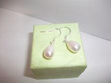 """White Fresh Water Pearl Earrings .925 Silver Hooks 1"""" Drop  6-7 mm NEW"""